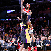 21 March 2014: Washington Wizards forward Drew Gooden (90) goes for the skyhook over Los Angeles Lakers forward Jordan Hill (27) during the Washington Wizards 117-107 victory over the Los Angeles Lakers at the Staples Center, Los Angeles, California, USA.