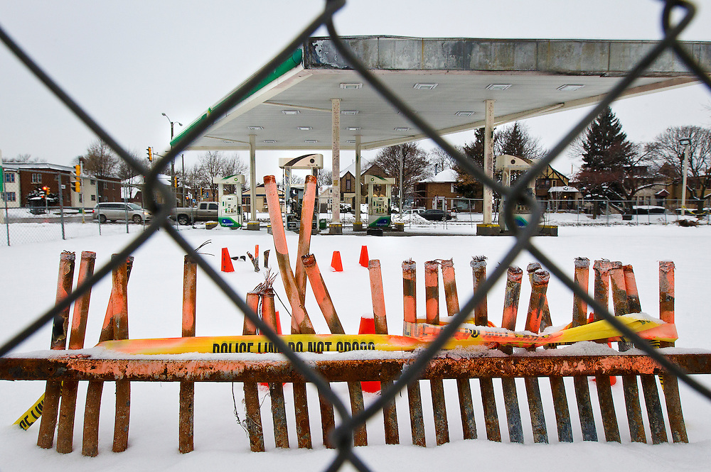 MILWAUKEE, WI – DECEMBER 16: Burned out gas pumps wiring conduit remain at the BP filing station on Burleigh Street and Sherman Boulevard on Friday, December 16, 2016. The station was one target of riots and protests following the shooting of Sylville Smith in August.