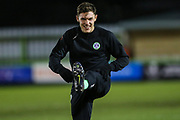 Forest Green Rovers Paul Digby(20) warming up during the EFL Sky Bet League 2 match between Forest Green Rovers and Grimsby Town FC at the New Lawn, Forest Green, United Kingdom on 22 January 2019.