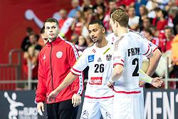 12.05.2017, Zatika Sport Centre, Porec, CRO, EHF EM, Herren, Österreich vs Frankreich, Gruppe B, im Bild v.l. Kristian Pilipovic (AUT), Julian Ranftl (AUT), Sebastian Frimmel (AUT) // during the preliminary round, group B match of the EHF men's Handball European Championship between Austria and France at the Zatika Sport Centre in Porec, Croatia on 2017/05/12. EXPA Pictures © 2018, PhotoCredit: EXPA/ Sebastian Pucher