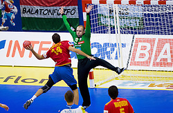 Roberto Garcia of Spain vs Gorazd Skof of Slovenia during handball match between Spain and Slovenia in  Main Round of 10th EHF European Handball Championship Serbia 2012, on January 25, 2012 in Spens Hall, Novi Sad, Serbia. (Photo By Vid Ponikvar / Sportida.com)