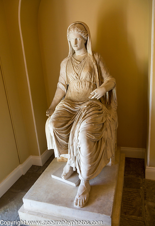 Roman second century 'Colossal figure of seated woman', Bowood House and gardens, Calne, Wiltshire, England, UK