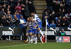 Reading celebrate Paul McShane's goal - Mandatory byline: Robbie Stephenson/JMP - 20/02/2016 - FOOTBALL - Madejski Stadium - Reading, England - Reading v West Bromwich Albion - FA Cup Fifth Round