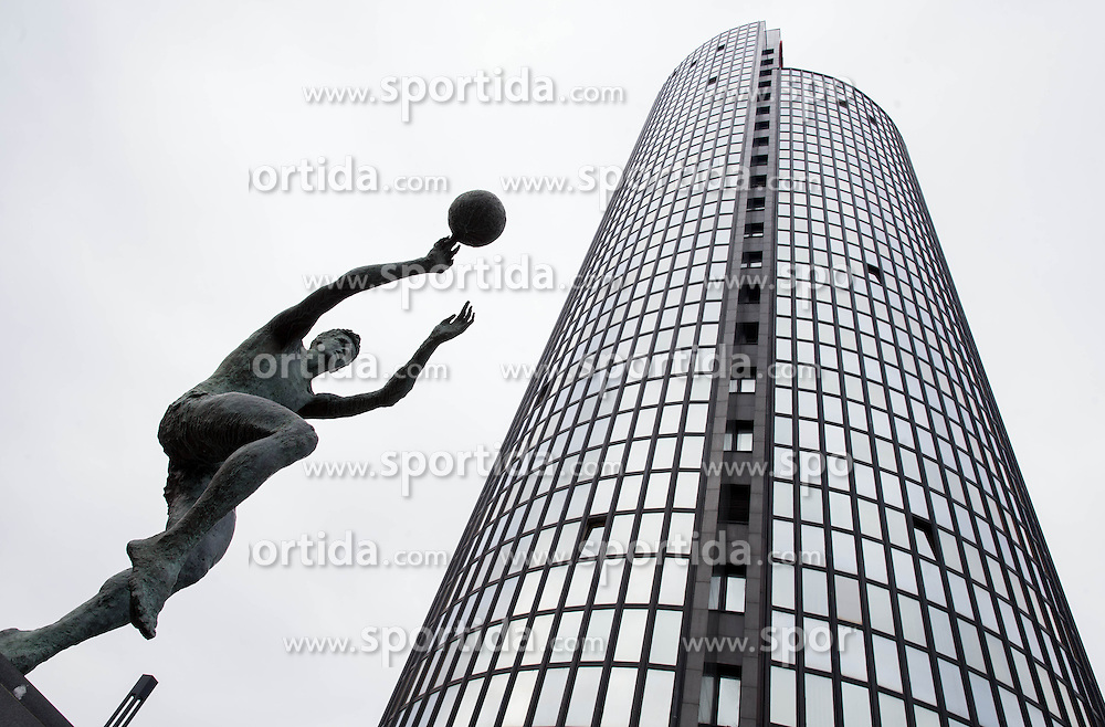 """Statue of famous basketball player Drazen Petrovic infront of  a museum named """"The Drazen Petrovic Memorial Center"""" in the Cibona Tower, on January 4, 2013 in Zagreb, Croatia. (Photo By Vid Ponikvar / Sportida.com)"""