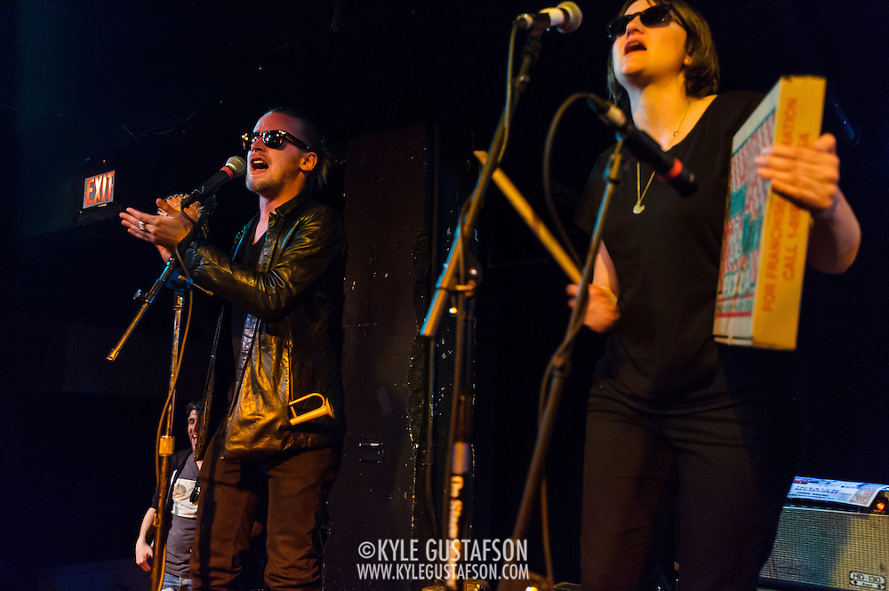 WASHINGTON, DC - March 21st, 2014 - Macaulay Culkin and Deenah Vollmer of the Pizza Underground perform at the Black Cat in Washington, D.C. (Photo by Kyle Gustafson / For The Washington Post)