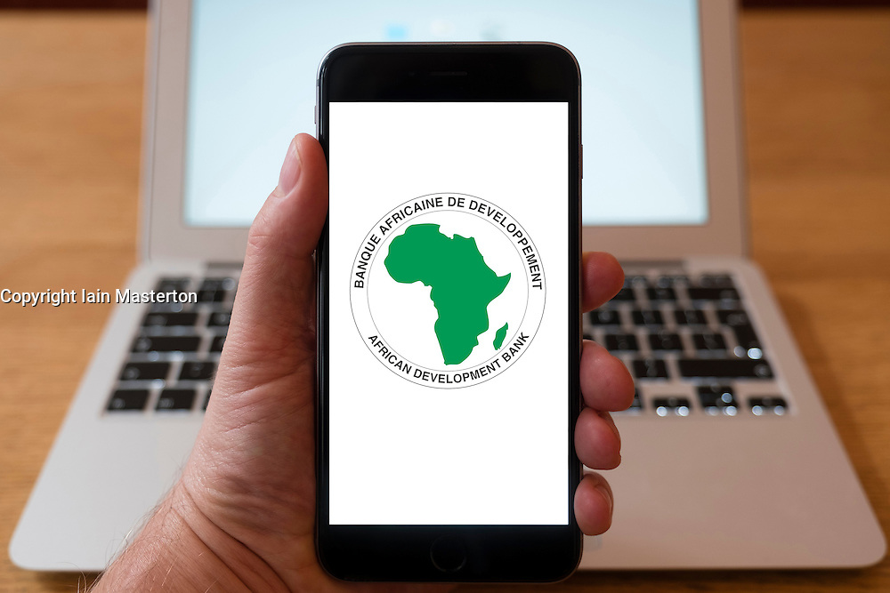 Using iPhone smart phone to display website logo of African Development Bank
