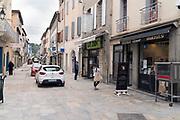 shoppers waiting outside portrait during Covid 19 crisis France Limoux April 2020