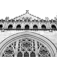 Princeton University Chapel edifice in black and white