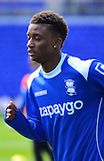Match winner Demarai Gray warms up during the Sky Bet Championship match between Birmingham City and Wolverhampton Wanderers at St Andrews, Birmingham, England on 11 April 2015. Photo by Alan Franklin.