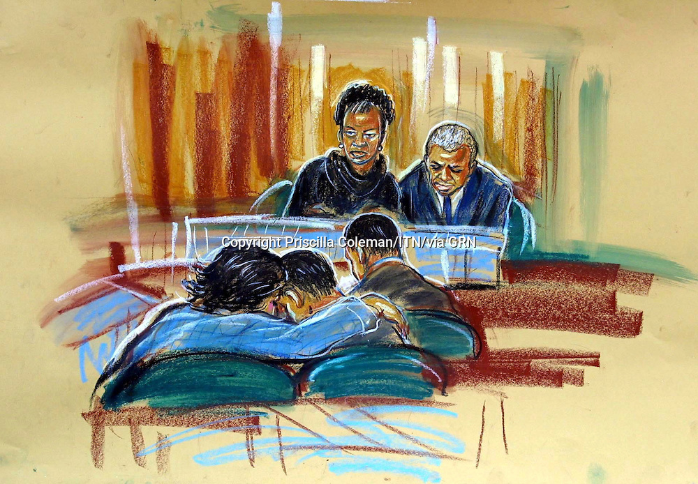 ©PRISCILLA COLEMAN ITV ARTIST.PIC SHOWS: THE SCENE IN THE COURTROOM TODAY 25.04.02 WHEN BOY B WAS FOUND NOT GUILTY OF THE MURDER OF DAMILOLA TAYLOR, HE CUDDLED UP TO HIS MOTHER FOR COMFORT, BOY A IS TO HIS RIGHT AND DAMILOLAS PARENTS LOOKED ON-SEE STORY