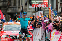 Winner Jakob Fuglsang (DEN) Astana Pro Team (KAZ,WT,Argon 18) celebrating after the finish during the 2019 Liège-Bastogne-Liège (1.UWT) with 256 km racing from Liège to Liège, Belgium. 28th April 2019. Picture: Pim Nijland | Peloton Photos<br /> <br /> All photos usage must carry mandatory copyright credit (Peloton Photos | Pim Nijland)