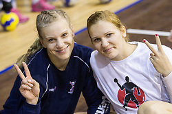 Barbara Varlec Lazovic and Neli Irman during practice session of Slovenian Women handball National Team three days before match against Serbia, on October 24, 2013 in Arena Tivoli, Ljubljana, Slovenia. (Photo by Vid Ponikvar / Sportida)