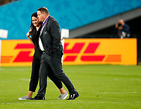 Rugby Union - 2019 Rugby World Cup - Bronze Final (Third Place Play-Off): Wales vs. France<br /> <br /> Steve Hansen head coach of New Zealand with his wife Tash at Tokyo Stadium, Tokyo.<br /> <br /> COLORSPORT/LYNNE CAMERON