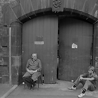Cutlery workers take a break, George Butler Cutlers Ltd Sydney Street Sheffield 1983.