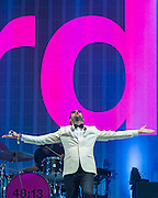 Kasabian play the pyramid stage. The 2014 Glastonbury Festival, Worthy Farm, Glastonbury. 29 June 2013.  Guy Bell, 07771 786236, guy@gbphotos.com