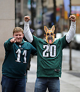 Philadelphia Eagles fans Wes Frebel (L) and Derek Nye of Reading, Pennsylvania cheer for the team on South Broad Street Sunday, February 04, 2018 in Philadelphia, Pennsylvania. WILLIAM THOMAS CAIN / For The Inquirer