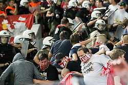 16.09.2015, Karaiskakis Stadium, Piräus, GRE, UEFA CL, Olympiakos Piräus vs FC Bayern München, Gruppe F, im Bild Polizei pruegelt auf die Fans (FC Bayern Muenchen) ein // during UEFA Champions League group F match between Olympiacos F.C. and FC Bayern Munich at the Karaiskakis Stadium in Piräus, Greece on 2015/09/16. EXPA Pictures © 2015, PhotoCredit: EXPA/ Eibner-Pressefoto/ Kolbert<br /> <br /> *****ATTENTION - OUT of GER*****