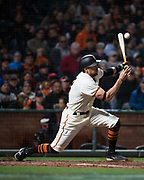 San Francisco Giants right fielder Hunter Pence (8) swings at a Colorado Rockies pitch at AT&T Park in San Francisco, California, on April 14, 2017. (Stan Olszewski/Special to S.F. Examiner)