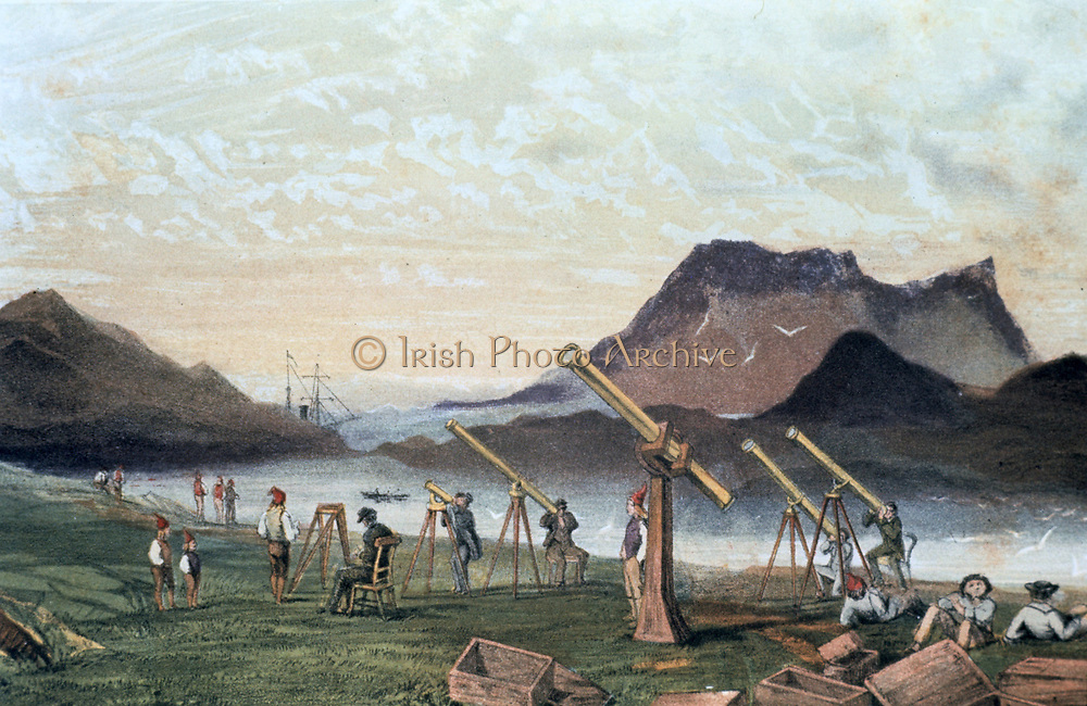 Total Solar Eclipse, 1851. Members of the Edinburgh expedition  on Bue Island, Norway with their instruments set up ready for viewing the eclipse , 28 July 1851.  Members of the crew from their transport vessel are seated on right by empty packing cases.  From 'Astronomical Observations made at the Royal Observatory, Edinburgh'. (Edinburgh, 1857).