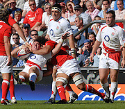 Twickenham, GREAT BRITAIN, Wales Colin CHARVIS, get a high tackle in on Shauan PERRY, during the Investic Rugby match between, England and Wales, at Twickenham Rugby  Ground, England Sat. 04.07.2007  [Mandatory Credit, Peter Spurrier/Intersport-images].....