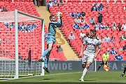 Martin Horsell (Hereford FC) catches the ball from looping shot during the FA Vase match between Hereford and Morpeth Town at Wembley Stadium, London, England on 22 May 2016. Photo by Mark Doherty.