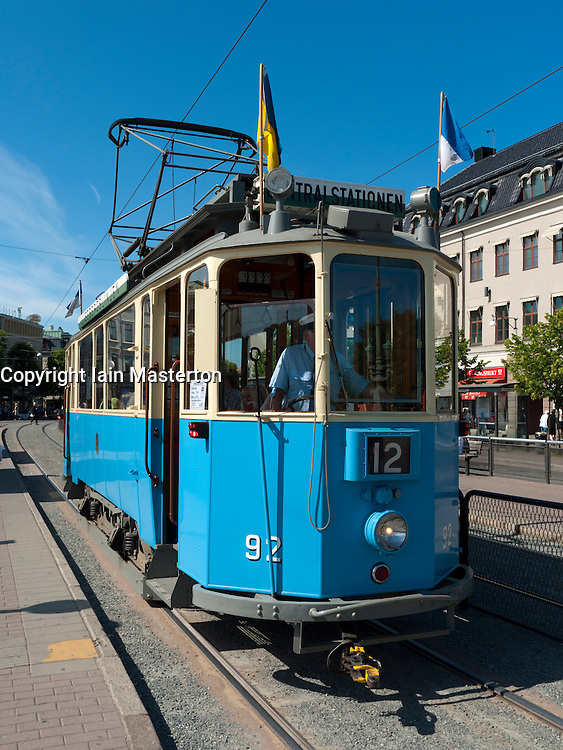 View of vintage  tram  carrying tourists to Liseberg amusement park in Gothenburg in Sweden Scandinavia
