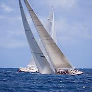 Hanuman, J Class, and Varsovie sailing in the 2010 St. Barth's Bucket superyacht regatta, race 2.
