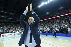 April 27, 2018 - Madrid, Spain - Pablo Laso of Real Madrid celebrates the victory during the Turkish Airlines Euroleague Play Offs Game 4 between Real Madrid v Panathinaikos Superfoods Athens at Wizink Center on April 27, 2018 in Madrid, Spain Photo: Oscar Gonzalez/NurPhoto  (Credit Image: © Oscar Gonzalez/NurPhoto via ZUMA Press)