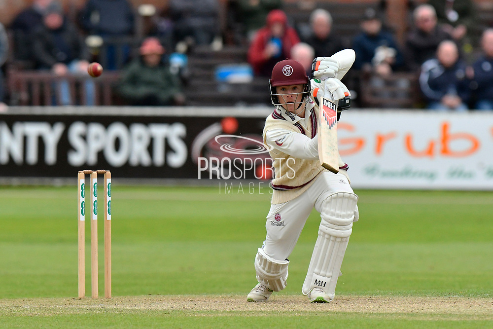 Tom Abell of Somerset hits the ball to the boundary for four runs during the third day of the Specsavers County Champ Div 1 match between Somerset County Cricket Club and Yorkshire County Cricket Club at the Cooper Associates County Ground, Taunton, United Kingdom on 29 April 2018. Picture by Graham Hunt.