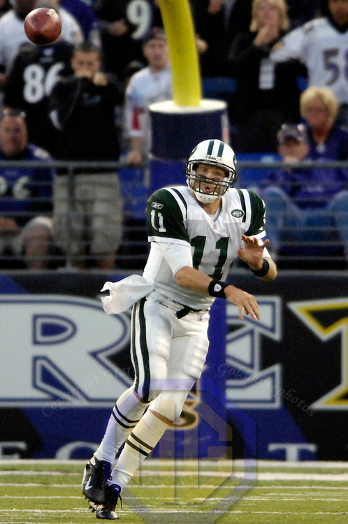 16 September 2007:  New York Jets quarterback Kellen Clemens (11) throws a 50 yard completion to New York Jets wide receiver Jerricho Cotchery (89) late in the 4th quarter against the Baltimore Ravens.  The Ravens defeated the Jets 20-13 at M&T Bank Stadium in Baltimore, Md. .