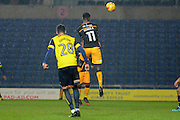 Bradford City striker Jordy Hiwula (11) scores a goal 2-1  during the EFL Trophy match between Oxford United and Bradford City at the Kassam Stadium, Oxford, England on 31 January 2017. Photo by Alan Franklin.