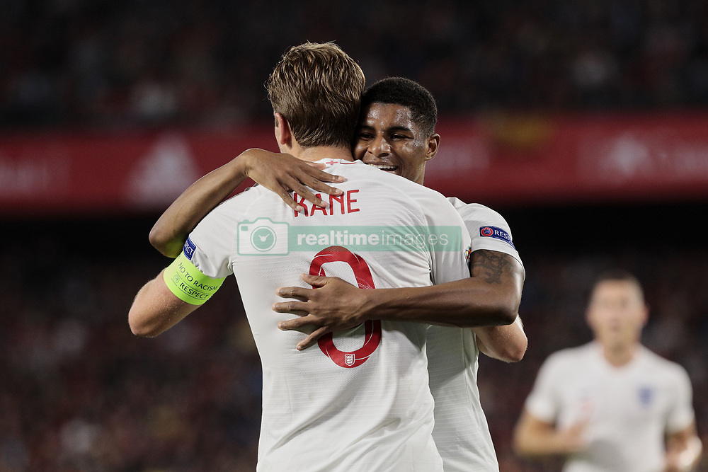 England's Harry Kane (L) and Marcus Rashford (R) celebrate goal during UEFA Nations League 2019 match between Spain and England at Benito Villamarin stadium in Sevilla, Spain. October 15, 2018. Photo by A. Perez Meca/Alterphotos/ABACAPRESS.COM
