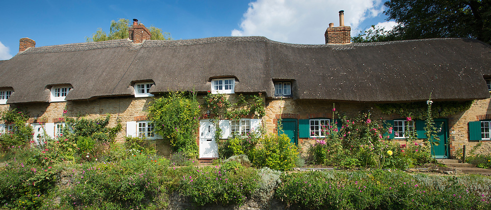 Quaint traditional rose-covered thatched cottages, Priory Bank, at Great Milton in Oxfordshire, UK