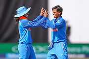 India womens cricket Deepti Sharma celebrates the wicket of England womens cricket Danielle Wyatt  during the ICC Women's World Cup match between England and India at the 3aaa County Ground, Derby, United Kingdom on 24 June 2017. Photo by Simon Davies.