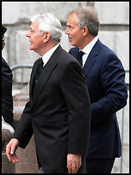 Former Pm's John Major and Tony Blair attend Lady Thatcher's funeral at St Paul's Cathedral following her death last week, London, UK, Wednesday 17 April, 2013, Photo by: Andrew Parsons / i-Images