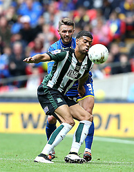 Jake Jervis of Plymouth Argyle holds off Callum Kennedy of AFC Wimbledon - Mandatory by-line: Robbie Stephenson/JMP - 30/05/2016 - FOOTBALL - Wembley Stadium - London, England - AFC Wimbledon v Plymouth Argyle - Sky Bet League Two Play-off Final