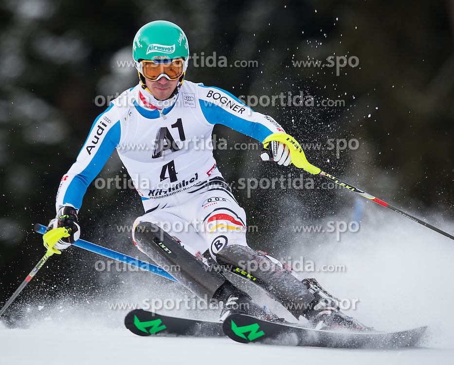 27.01.2013, Ganslernhang, Kitzbuehel, AUT, FIS Weltcup Ski Alpin, Slalom, Herren, 1. Lauf, im Bild Felix Neureuther (GER) // Felix Neureuther of Germany in action during 1st run of the  mens Slalom of the FIS Ski Alpine World Cup at the Ganslernhang course, Kitzbuehel, Austria on 2013/01/27. EXPA Pictures © 2013, PhotoCredit: EXPA/ Johann Groder