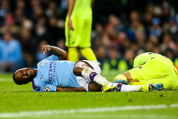 Sergio Aguero of Manchester City looks in pain after picking up an injury - Mandatory by-line: Robbie Stephenson/JMP - 01/10/2019 - FOOTBALL - Etihad Stadium - Manchester, England - Manchester City v Dinamo Zagreb - UEFA Champions League Group Stage