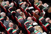 2013/03/21 Roma, assemblea nazionale dell'Associazione Nazionale dei Comuni d'Italia. Nella foto alcuni sindac1.<br /> Rome, National Meeting of ANCI (reading National Association of Italian Municipalities). In the picture some mayors - &copy; PIERPAOLO SCAVUZZO