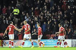 Fans celebrate Bristol City's Aaron Wilbraham's goal - Photo mandatory by-line: Dougie Allward/JMP - Mobile: 07966 386802 - 11/11/2014 - SPORT - Football - Bristol - Ashton Gate - Bristol City v AFC Wimbledon - Johnstone Paint Trophy