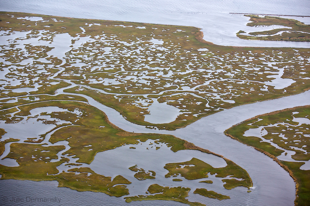 Aerial view of Southern Louisiana where land loss due to coastal erosion is estimated to be more than the size of footaball field every hour.