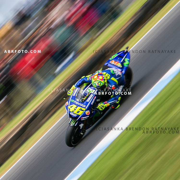 Valentino Rossi of Italy riding for Movistar Yamaha MotoGP during free qualifying for the 2017 Australian MotoGP.