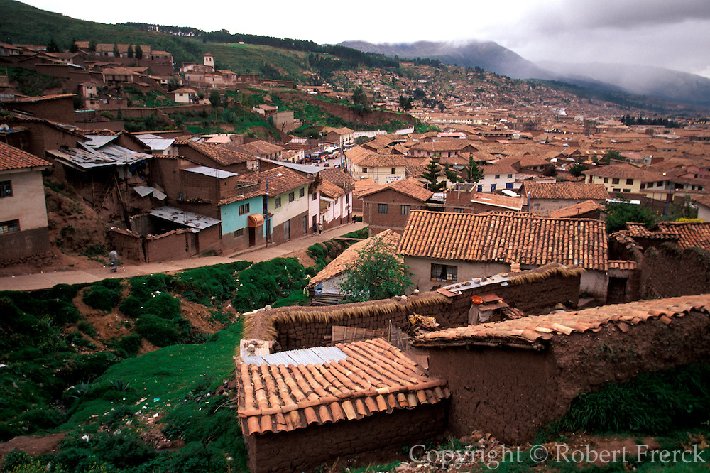 PERU, CUZCO - MACHU PICCHU TRAIN train climbing hillside as it leaves Cuzco