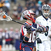 Jack Rice #16 of the Boston Cannons looks to pass the ball during the game at Harvard Stadium on April 27, 2014 in Boston, Massachusetts. (Photo by Elan Kawesch)