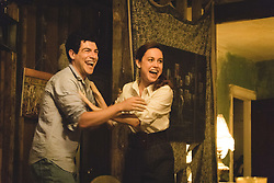 """Max Greenfield as """"Brian"""" and Brie Larson as """"Jeannette Walls"""" in THE GLASS CASTLE. Photo by Jake Giles Netter."""