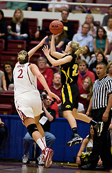 March 22, 2010; Stanford, CA, USA;  Iowa Hawkeyes guard Jaime Printy (24) shoots over Stanford Cardinal forward/center Jayne Appel (2) during the second half in the second round of the 2010 NCAA womens basketball tournament at Maples Pavilion. Stanford defeated Iowa 96-67.