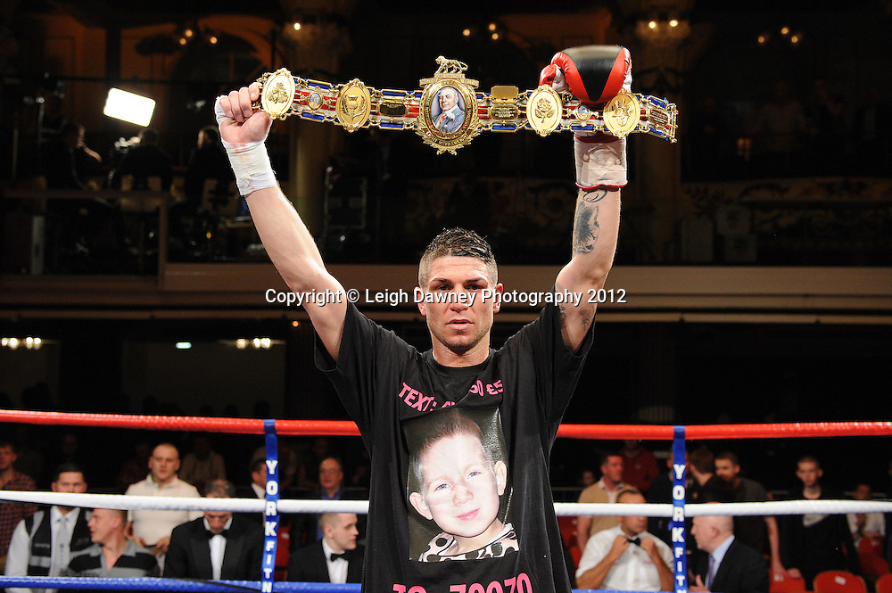 Brian Rose defeats Max Maxwell for the British Light Middleweight Title at the Winter Gardens, Blackpool on the 31st March 2012. Frank Maloney and Steve Wood VIP Promotions. © Leigh Dawney Photography 2012.