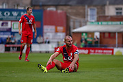 Russell Penn during the Capital One Cup match between York City and Bradford City at Bootham Crescent, York, England on 11 August 2015. Photo by Simon Davies.