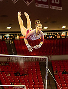 Maggie Nichols on the bars for the Oklahoma Sooners Friday evening, January 11, 2019 at the Lloyd Noble Center.