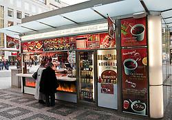 Prague, Czech Republic:  Fast food stand in Wenceslas Square.